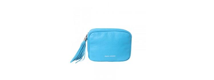 CAVA skórzana torebka damska, niebieska - Franco Morenzo Torebka skórzana damska
